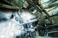 Övergiven industribyggnad under konstruktionsbegrepp Arkivbilder