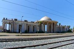 Övergiven järnvägsstation i nya Athos, Abchazien Royaltyfri Fotografi
