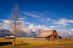 Övergiven ladugård på mormonrad i storslagna Teton NP, USA Royaltyfria Foton