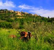 övergiven montepulciano nära traktoren Arkivbilder