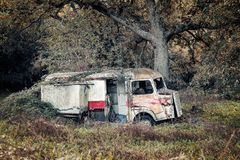 Övergiven pizzaleveransskåpbil i träna royaltyfria bilder