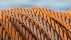 Övergiven rostig stålkabel - selektiv fokus Royaltyfri Fotografi