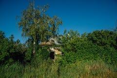 Övergiven rysk by Fördärvar av bevuxet lantligt hus Enslighet- och övergivandebegrepp fotografering för bildbyråer
