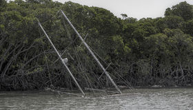 Övergiven seglingyacht Royaltyfri Fotografi
