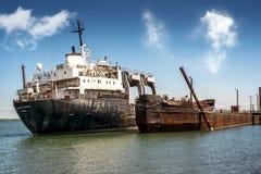övergiven ship Arkivbild
