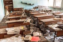 Övergiven skola i Chernobyl Arkivbild