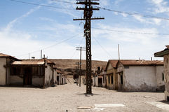 Övergiven stad - Humberstone, Chile Arkivfoto