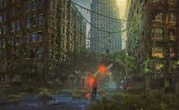 Övergiven stad med mannen Arkivbild