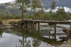 Övergiven träbro längs den Austral Carreteraen Arkivfoton