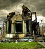 övergivet bränt övergivet hus Royaltyfri Fotografi