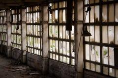 övergivet fabriksfönster Fotografering för Bildbyråer