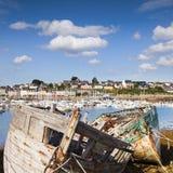 Övergivna fiskebåtar, Camaret-sur-MER Arkivfoto