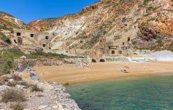 övergivna greece ömilos bryter sulphur Arkivfoto