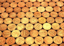 Överhopat av guld- mynt Royaltyfri Foto
