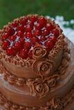 Överkant av bröllopstårtan som fylls med körsbär Royaltyfri Fotografi