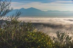 Överkant av den dimmiga kullen för värld arkivfoto