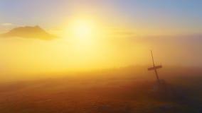 Överkant av det dimmiga Saibi berget med sikt av Anboto Royaltyfri Bild