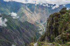 Överkant av det machuPicchu berget Arkivfoto