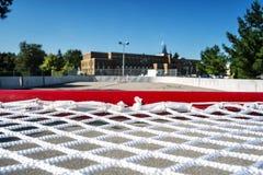 Överkant av ett hockeymål Fotografering för Bildbyråer