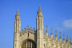 ÖVERKANT av kapellet i högskola för konung` s i det Cambridge universitetet Royaltyfri Fotografi