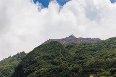 Överkant av monteringen Unzen som fotvandrar slingan i Kumamoto, Japan Arkivbilder