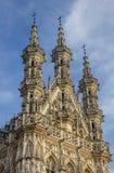Överkant av stadshuset i Leuven Arkivbild