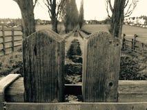 Överkant av träporten och den pebbled körbanan Arkivfoton