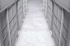 Överkant för korridor för arrestcell Arkivbilder