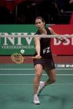 överkant för spelare för badmintonjudith meulendijks Royaltyfria Foton