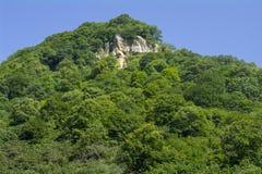 Överkant för stenigt berg i grönska och blå himmel, Kaukasus, Ryssland Royaltyfri Fotografi