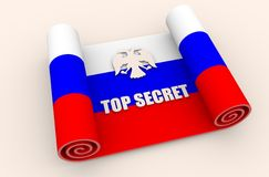 Överkant - hemlig text på den pappers- snirkeln som textureras av den ryska flaggan stock illustrationer