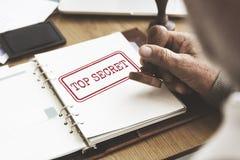 Överkant - hemligt godkänt säkert garantibegrepp Arkivbild