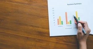 Överkant - sikt av den hållande pennan för hand med den affärsöversikts- eller för affärsplan rapporten med diagram och grafer i  Arkivfoto