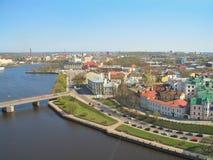 Överkant-sikt av Vyborg, Ryssland Royaltyfria Bilder