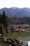 Överkanten av bergsjön och träbanan Arkivfoto