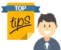 Överkanten tippar illustrationen med användaren och dokumentet royaltyfri illustrationer