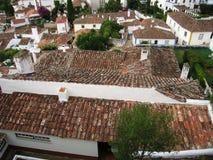 överkanter för obidushportugal tak royaltyfri bild
