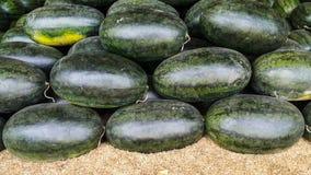 Överlappning av oval form för vattenmelon på risskalet Arkivfoton