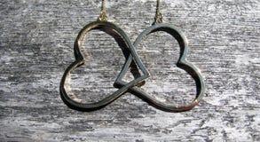 Överlappning för två smyckenhjärtor Fotografering för Bildbyråer