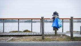 Överlopp som är trashcan vid vattnet och bredvid träspång Förhindrande mot plast- i havepidemin royaltyfria foton