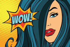 Överraska den härliga kvinnan med långt hår royaltyfri illustrationer