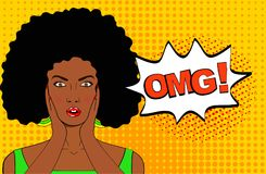 Överraska den kvinnliga framsidan för popkonst Sexig förvånad ung afrikansk kvinna med vektor illustrationer