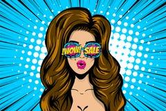 Överraska framsidakvinnan, försäljningen för pop somkonst annonserar royaltyfri illustrationer