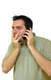 överraska telefon för mannyheterna Arkivbilder