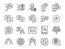 Översättningslinje symbolsuppsättning Inklusive symbolerna som översätter, översättare, språk, tvåspråkig person, ordbok, kommuni royaltyfri illustrationer