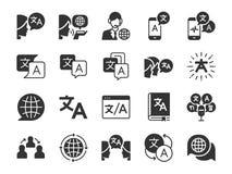 Översättningslinje symbolsuppsättning Inklusive symbolerna som översätter, översättare, språk, tvåspråkig person, ordbok, kommuni stock illustrationer