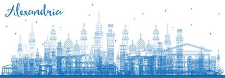 Översikt Alexandria Egypt Skyline med blåa byggnader stock illustrationer