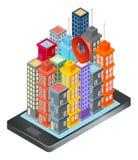 Översikt app på smartphonen Vektor Illustrationer