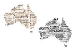 Översikt av återhållsamma Australien - vektorillustration stock illustrationer