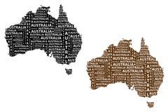 Översikt av återhållsamma Australien - vektorillustration royaltyfri illustrationer
